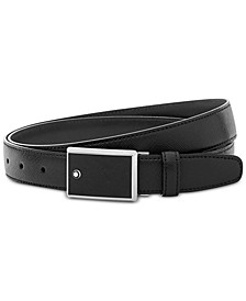 Men's Rectangular Framed Black Saffiano Printed Leather & Stainless Steel Plate Buckle Belt 114421
