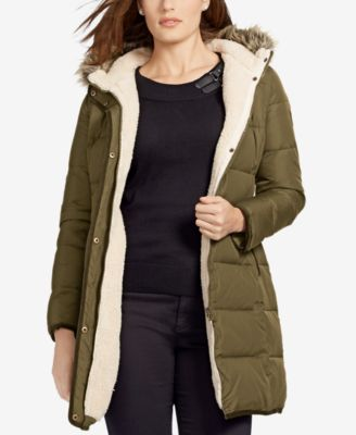 Lauren Ralph Lauren Plus Size Faux-Fur-Trim Down Puffer Coat, Only at Macy's