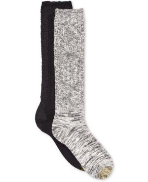 GOLD TOE Women'S 2-Pk. Boot Socks in Black/White