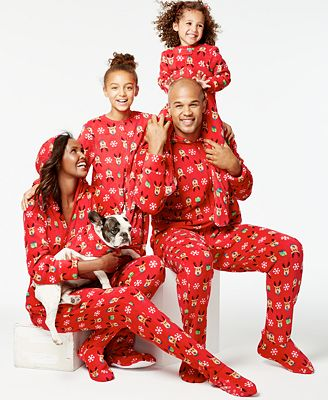 Family Pajamas Reindeer Hooded and Footed Pajamas, Only at Macy's ...