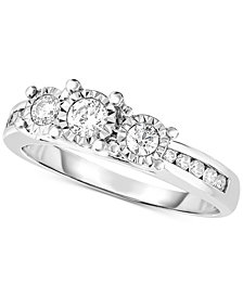 TruMiracle® Diamond Trinity Engagement Ring (1/2 ct. t.w.) in 14k White Gold