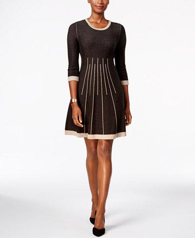 Jessica Howard Petite Seamed Fit Amp Flare Sweater Dress