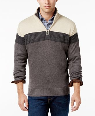 Tricot St. Raphael Men's Zip-Up Stripe Sweater