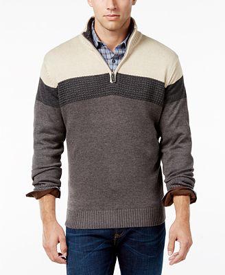 Tricot St. Raphael Men's Zip-Up Stripe Sweater