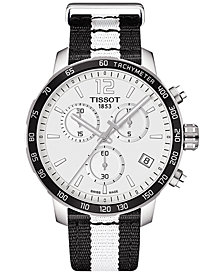 Tissot Unisex Swiss Chronograph Brooklyn Nets Quickster Black & White Strap Watch 42mm T0954171703711