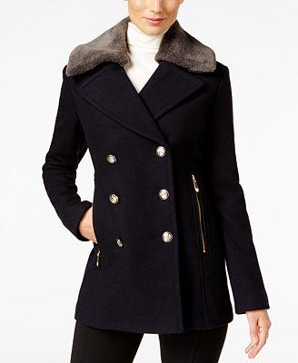 Vince Camuto Faux-Fur-Collar Military Peacoat - Coats - Women - Macy's