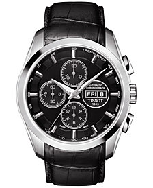 Tissot Men's Swiss Automatic Chronograph Couturier Black Leather Strap Watch 43mm T0356141605102