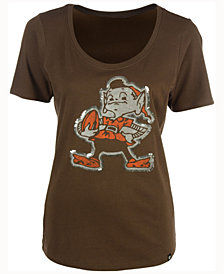 '47 Brand Women's Cleveland Browns Lux Sequins Scoop T-Shirt