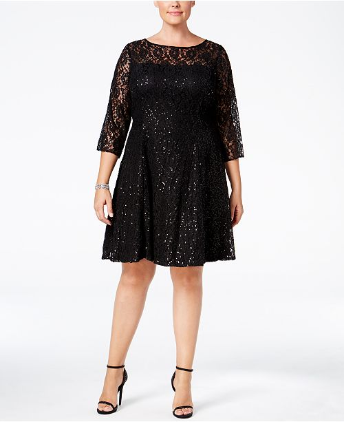 5ef07b55fd4ea SL Fashions Plus Size Sequined Lace Fit & Flare Dress & Reviews ...