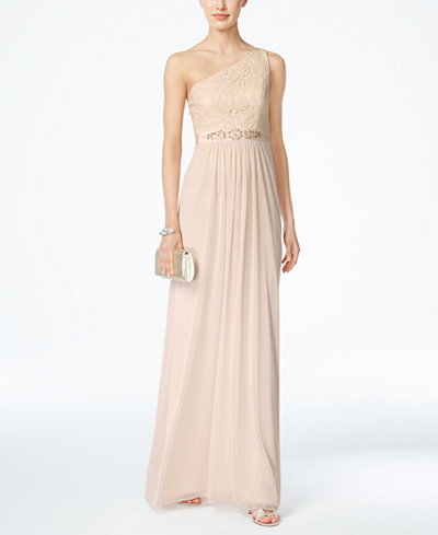 Adrianna Papell Embellished Lace One Shoulder Gown Women