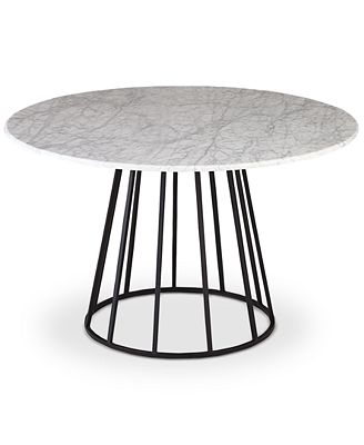 Round Dining Table callisto marble round dining table, created for macy's - furniture