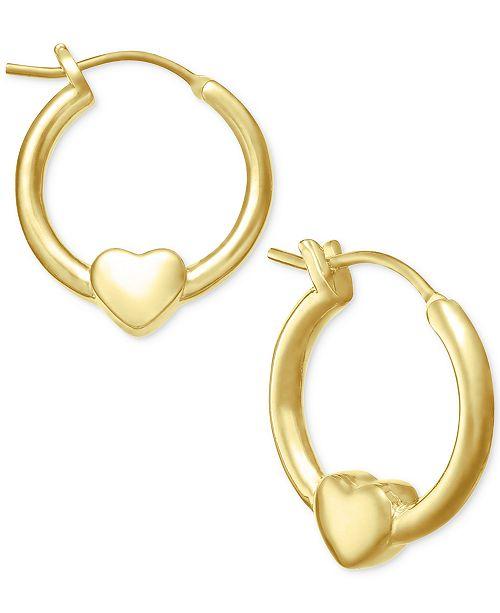 Children S Heart Hoop Earrings In 18k Gold Plated Sterling Silver
