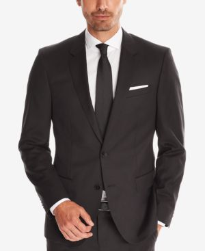 HUGO BOSS Boss Men'S Slim-Fit Super 120 Italian Virgin Wool Sport Coat in Black