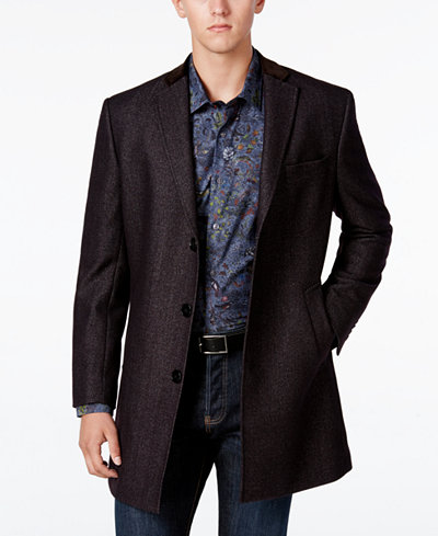 Tallia Navy Wool-Blend Coat with Faux Suede Trim