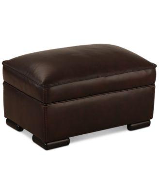 Kassidy Leather Ottoman. Furniture