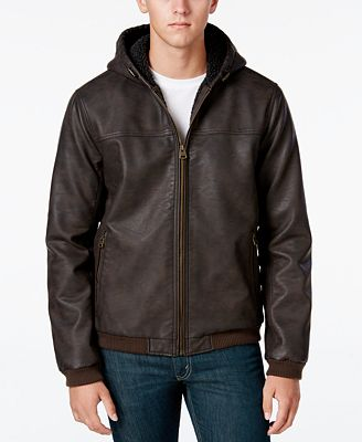 Levi's® Men's Faux Leather Hooded Bomber Jacket - Coats & Jackets ...