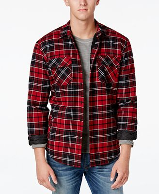 American Rag Men's Lined Plaid Shirt Jacket with Sherpa Lining ...