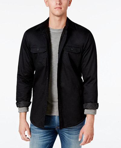 American Rag Men's Lined Shirt Jacket with Sherpa Lining, Only at ...