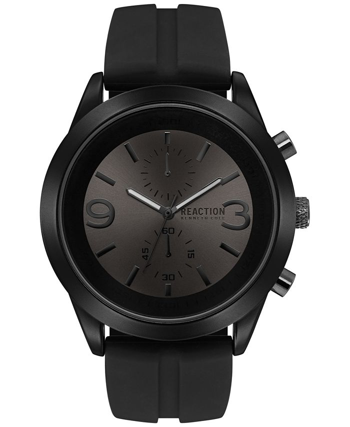 Kenneth Cole Reaction - Men's Chronograph Black Silicone Strap Watch 47mm 10030939