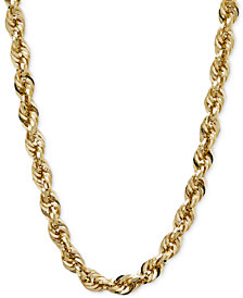 "30"" Glitter Rope Necklace (5-1/2mm) in 14k Gold"