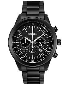 citizen watches macy s citizen men s chronograph quartz black ion plated stainless steel bracelet watch 46mm an8155 52e