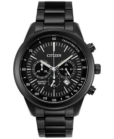 Citizen Men's Chronograph Quartz Black Ion-Plated Stainless Steel Bracelet Watch 46mm AN8155-52E, A Macy's Exclusive Style
