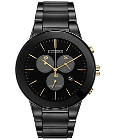 citizen watches macy s citizen eco drive men s chronograph axiom black ion plated stainless steel bracelet watch 43mm