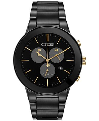 Citizen Eco-Drive Men's Chronograph Axiom Black Ion-Plated Stainless Steel Bracelet Watch 43mm AT2248-59E, A Macy's Exclusive
