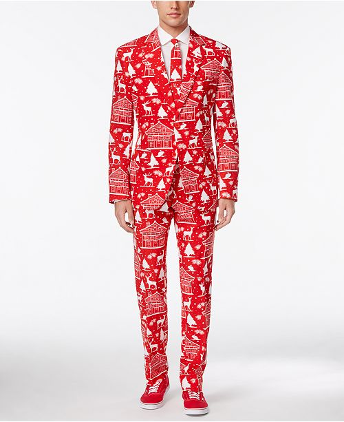 OppoSuits Men's Cozy Cabin Slim-Fit Suit and Tie, Created for Macy's