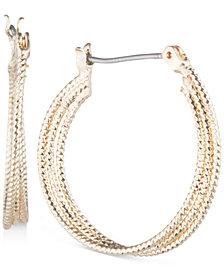 """Nine West Multi-Row 1"""" Textured Hoop Earrings"""