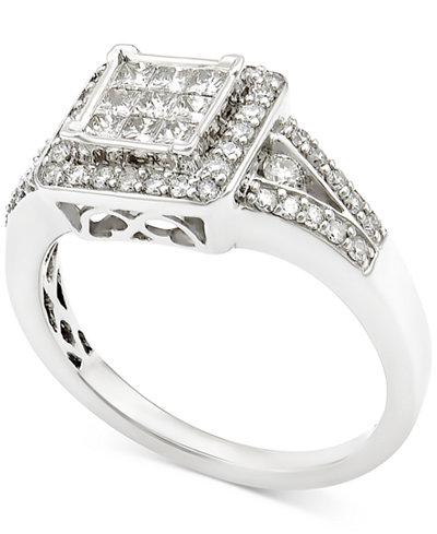 Diamond Square Cluster Engagement Ring (3/4 ct. t.w.) in 14k White Gold