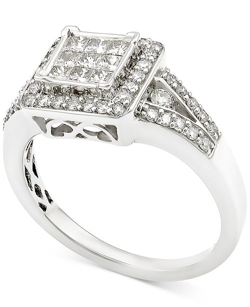 ce6baaf645e Macy s Diamond Square Cluster Engagement Ring (3 4 ct. t.w.) in 14k ...