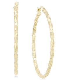 Textured Large Oval Hoop Earrings in 14k Gold