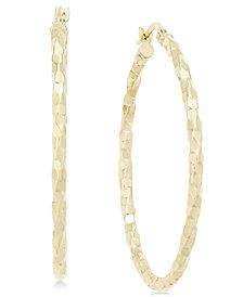 Textured Large Oval Hoop Earrings in 14k Gold