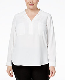 Nine West Plus Size Crepe Top