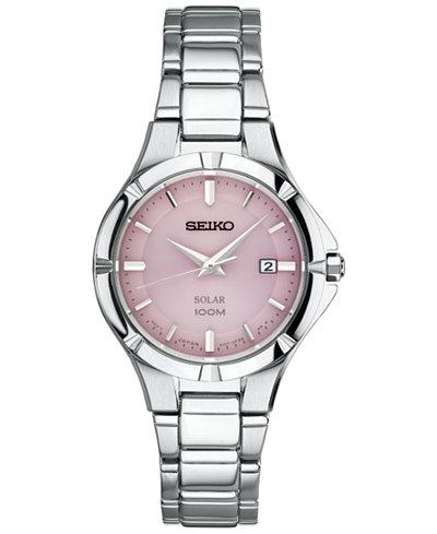 Seiko Women's Solar Dress Sport Stainless Steel Bracelet Watch 27mm SUT315