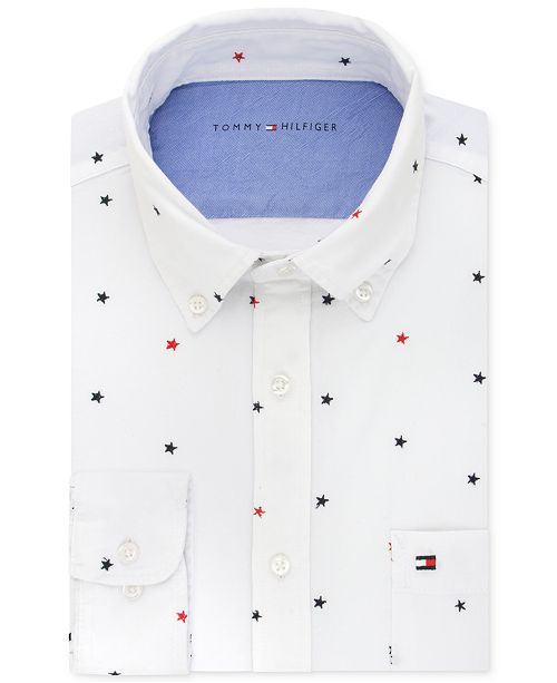 a465ab91be8 ... Tommy Hilfiger Men's Slim-Fit Comfort-Wash Star-Embroidered Untucked Dress  Shirt ...