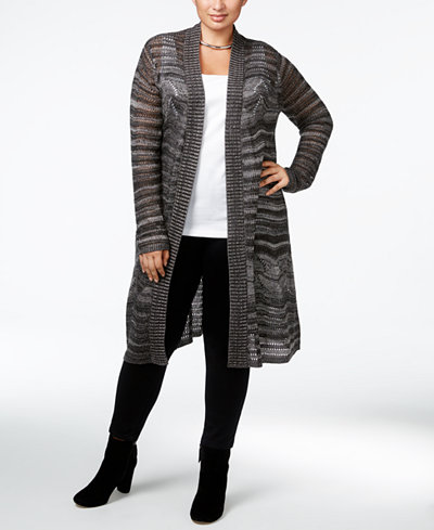 Belldini Plus Size Marled Pointelle Duster Cardigan - Sweaters ...