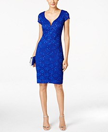 Petite Sequin-Embellished Lace Sheath Dress