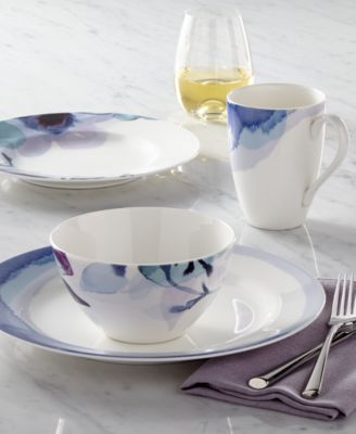 Indigo Watercolor Floral  Porcelain 4-Pc. Place Setting, Created for Macy's