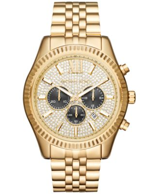 Men's Chronograph Lexington Gold-Tone Stainless Steel Bracelet Watch 44mm MK8494