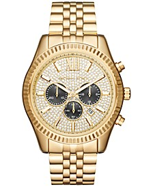 Men's Chronograph Lexington Gold-Tone Stainless Steel Bracelet Watch 44mm MK8494