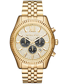 Michael Kors Men's Chronograph Lexington Gold-Tone Stainless Steel Bracelet Watch 44mm MK8494