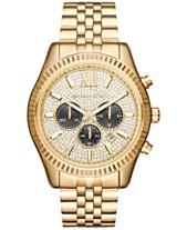 87dcabcac094 Michael Kors Men s Chronograph Lexington Gold-Tone Stainless Steel Bracelet  Watch 44mm MK8494