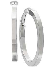 Square-Edge Polished Hoop Earrings in Sterling Silver