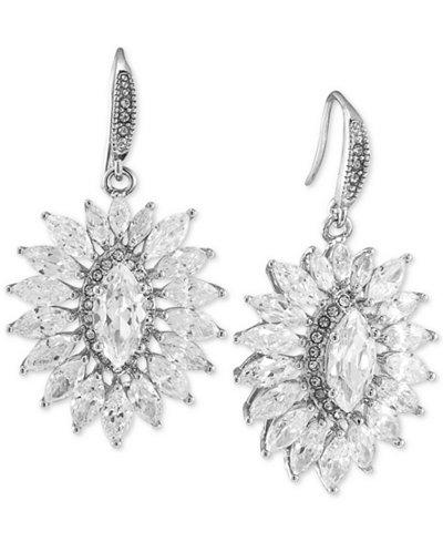 Carolee Silver-Tone Cluster Drop Earrings