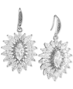Carolee Silver-Tone Cluster Drop Earrings