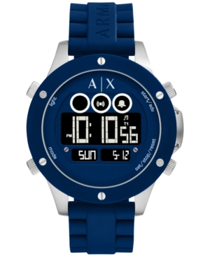 AX Armani Exchange Men's Digital Blue Silicone Strap Watch 48mm AX1561