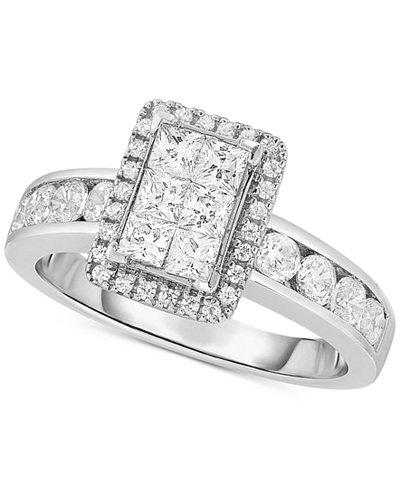 Diamond Rectangular Cluster Engagement Ring (1-1/3 ct. t.w.) in 14k White Gold