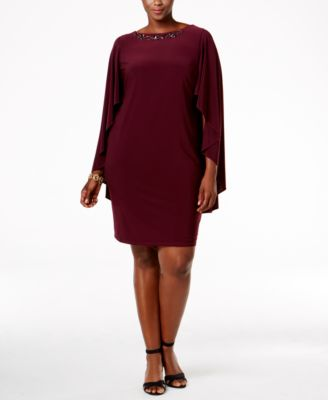 Betsy & Adam Embellished Capelet Dress